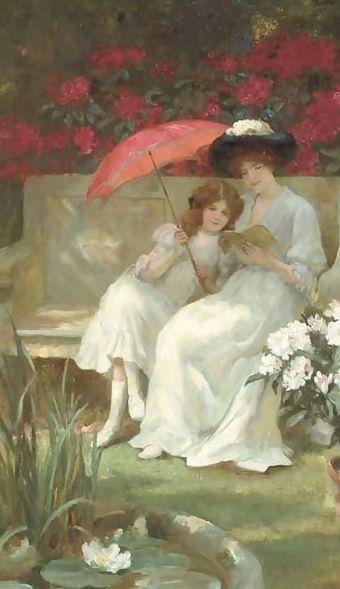 mujer lectora y niña